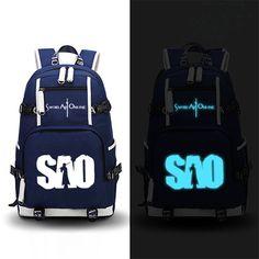 3c7237b4f2 Canvas Back Pack Luminous Printing School Backpacks for Teenage Girls Sword  Art Online SAO Design Mochila Feminina Laptop Bags