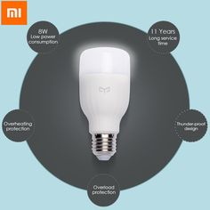 Original Xiaomi Mi Yeelight E27 8W White LED Smart Light Bulb Smartphone App WIFI Control 220V