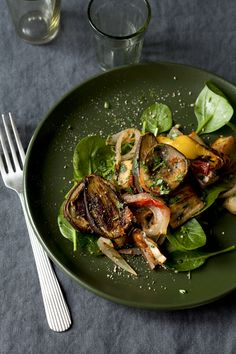 ♂ food styling photography Roasted Eggplant with Bell Peppers, Tomatoes, and Herbs