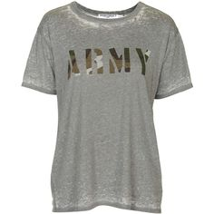 Burnout Army Tee by Project Social T ($36) ❤ liked on Polyvore featuring tops, t-shirts, grey, army tees, gray t shirt, gray top, army top and vintage style t shirts