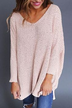 Poppoly  Girly Solid Colors V Neck Loose  Pullover Sweater pale pink warm jumper loose casual Boho style fashion