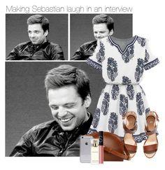 """Making Sebastian laugh during an interview"" by thatweirdgirlkris ❤ liked on Polyvore featuring H&M, A.P.C., Estée Lauder, NARS Cosmetics, imagine, preference, sebastian, SebastianStan and Stan"