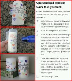 Homemade gifts the kids can do Homemade Christmas Gifts, Homemade Gifts, Diy Gifts, Christmas Crafts, Christmas Candles, Christmas Birthday, Christmas Ideas, Homemade Candles, Diy Candles