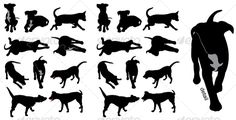 Dog Silhouettes: This is what I'd like to get for a tattoo. A small, black dog silhouette. I particularly like the running dog in the upper right hand corner, or the one in the play position (rump in the air).