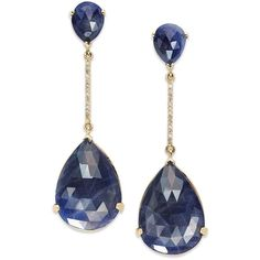 EFFY Collection 14k Gold Earrings, Sapphire (20 ct. t.w.) and Diamond (1/10 ct. t.w.) Pear Drop Earrings ($5,500)