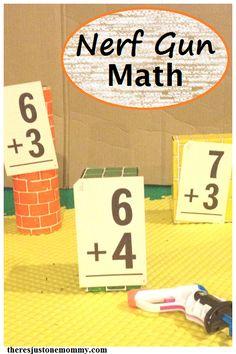 Nerf gun math activity -- make learning math facts fun!