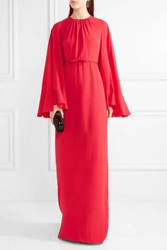 Scarlet silk-georgette Concealed hook and zip fastening at back silk; lining: cotton, viscose Dry clean Made in Italy As seen in The EDIT magazine Cape Gown, Embellished Belt, Pleated Bodice, Giambattista Valli, Kaftan, Bell Sleeves, Cold Shoulder Dress, Gowns, Silk