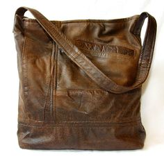 Upcycled leather bag made from old coats - by Uptown Redesigns