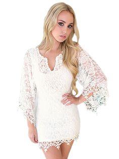 "Women's ""Goddess Crochet"" Beach Dress by Rodeo Fox (Cream) #InkedShop #crochet #goddess #dress #style #fashion #womenswear"