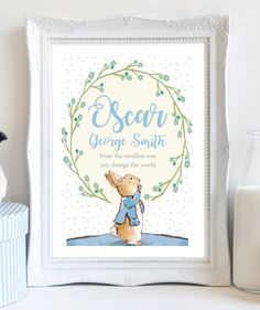 A4 Personalised Peter Rabbit Beatrix Potter Print Flower Picture Christening Birthday Gift Present for Baby Boy Nursery Art Unframed. by DaisyandDoodles on Etsy