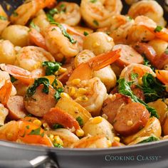 most flavorful way to make shrimp boil! Rather than boiling you get a some browning from sautéing. A must try recipe!The most flavorful way to make shrimp boil! Rather than boiling you get a some browning from sautéing. A must try recipe! Seafood Boil Recipes, Fish Recipes, Chicken Recipes, Good Shrimp Recipes, Sauted Shrimp Recipes, Korean Shrimp Recipe, Clam Boil Recipe, Meals With Shrimp, Sausage And Shrimp Recipes