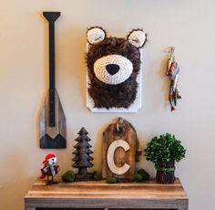 Plush Bear head / faux Taxidermy / woodland decor / boy room /