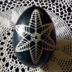 Pysanky lace doily batik with bees wax on real chicken egg. Jodi Henninger of Expat Down Under Art.