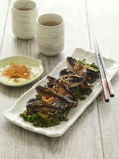 Shichimi-dusted Swiss brown mushrooms with goma-ae spinach