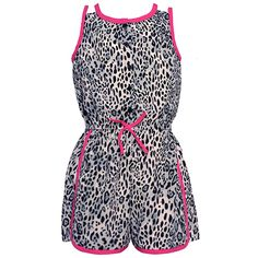 A bold wild animal print and cute contrast piping make this Real Love romper so enchanting. The sleeveless jumper features leopard pattern in lovely hues of black and grey, fuchsia tie at the waist and matching trim detail.