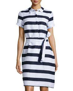 T9L7F Neiman Marcus Striped Linen Shirtdress, Navy/White