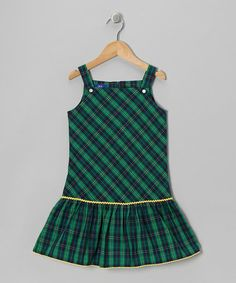 Take a look at this Navy & Green Plaid Jumper - Toddler & Girls by Cotton Blu & Cotton Pink on #zulily today!