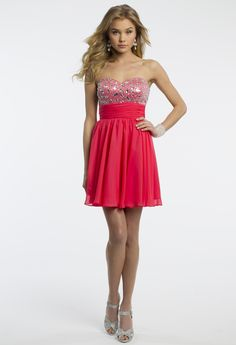 Camille La Vie Strapless Beaded Strapless Prom Dress with Cut Out