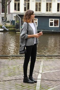 white t-shirt, cropped cardigan, shoulder bag, skinny jeans, and black ankle boots