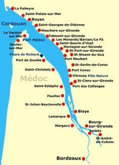estuaire gironde, carte villes                                                                                                                                                                                 Plus