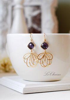 Amethyst Purple Gold Dangle Earrings, Gold Chandelier Earrings, Purple Wedding Jewelry, Bridesmaid Gift, Bridal Earrings