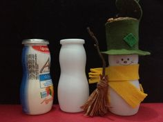 Probiotic snowman : yogurt bottles reuse- pupazzi di neve
