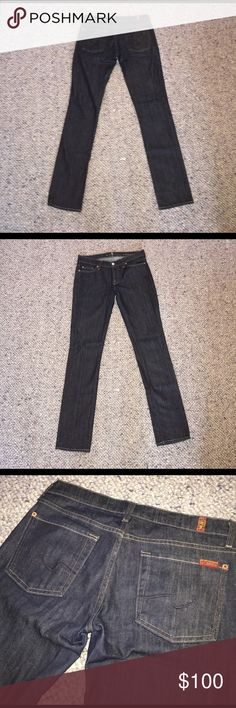 Seven For All Mankind Roxanne fit size 28 Used but in great condition. Scale of 1-10: 8 Jeans look new, not faded. It's a great pair to have to wear with boots or your favorite pair of sneakers. Can be casual or formal denim. Little bit of stretch but not too much. Selling because they don't fit me anymore but I loved them when they did! 7 For All Mankind Jeans Straight Leg