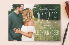 """Earthy"" - Full-Bleed Photo Save The Date Cards in Pearl by Owl and Toad."