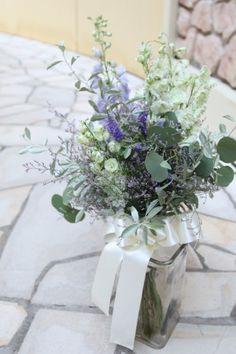 花どうらく/ウェディングブーケ/hanadouraku/http://www.hanadouraku.com/bouquet/wedding/ユーカリ/ラクスパー/natural/ナチュラル/クラッチブーケ/スターチス/エアリー