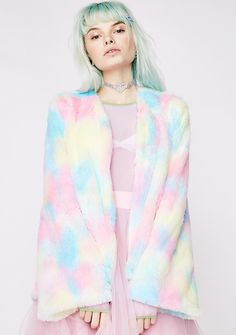 Sugar Thrillz Candy Craving Fluffy Coat will cure your sweet tooth. This supa fluffy faux fur coat has a blue, pink, N' yellow tie-dye exterior and an open front design.