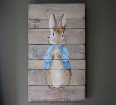 Hand Painted Peter Rabbit on Pallet Wood - Nursery - Peter Rabbit Birthday, Peter Rabbit Party, Wood Pallets, Pallet Wood, Beatrix Potter Nursery, Maude, Peter Rabbit Nursery, Easter Paintings, Rabbit Garden