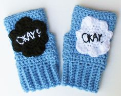The Fault in Our Stars Okay Wristwarmers, Fingerless Texting Gloves, Mitts, TFIOS Handwarmers, Adorable Stocking Stuffer - pinned by pin4etsy.com