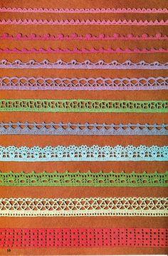 Crochet Edgings Design 12 Crochet Edgings with pattern charts, including corners ! Crochet Edging Patterns, Crochet Motifs, Crochet Borders, Crochet Diagram, Tatting Patterns, Crochet Stitches, Crochet 101, Thread Crochet, Crochet Trim