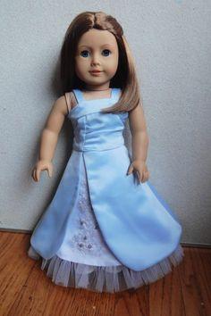 Custom Hand Embroidered Satin Split Skirt Prom Dress for  American Girl Doll You Pick Fabric. $35.00, via Etsy.