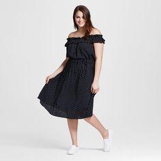 Women's Plus Size Bardot Midi Dress Black Polka Dot 4X - Who What Wear