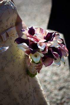 Calla lily bridal bouquet-- with diff shades of pink