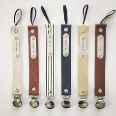 Personalized Leather STAMPED pacifier clip- YOU choose color, name and style