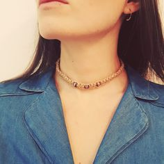 Hemp macrame choker necklace with purple beads by PrettyRocking on Etsy