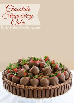 Chocolate Strawberry Cake! {w/ Kit Kat rim}