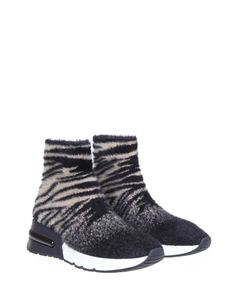Ash Sneakers King In Fabric Sock With Tiger Black / Cream Motif in Black
