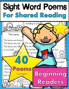 "I created this set of sight word poems to use during my shared reading time in my Kindergarten classroom. This set of 40 poems will provide you with one poem for each week of school. These predictable poems are filled with sight words so that your kinders can learn their sight words in ""text."" My kinders will highlight the sight words and keep them in a poetry notebook."
