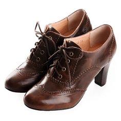 Ladies Chocolate High Heel Lace Up Retro Vintage Inspired Boho Shoes SKU-1090642