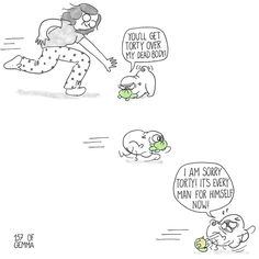 My Life with a Dramatic Pug Illustrated by Artist Gemma Gene Comics) - World's largest collection of cat memes and other animals Chihuahua Love, Pug Love, Black Pug Puppies, Dogs And Puppies, Pet Pug, Baby Pugs, Cute Comics, Dog Comics, Cute Pugs