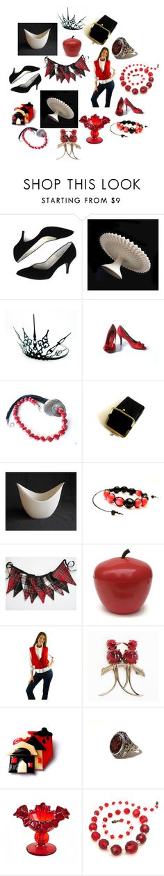 """""""Black and White and Red All Over"""" by patack ❤ liked on Polyvore featuring interior, interiors, interior design, home, home decor, interior decorating, Fenton, Lenox, Shamballa Jewels and Vintage House by Park B. Smith"""