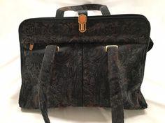 Samsonite Laptop Bag Computer Tote Travel Paisley Purse Gold Tone Hardware #Samsonite