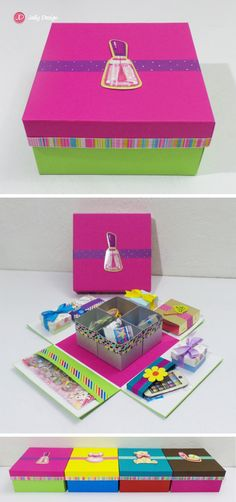 Caja scrapbook Mini kit de papelería Rosa y verde limón