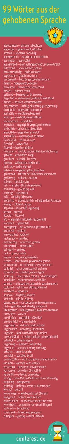 99 #Wörter aus der gehobenen Sprache für spannendere #Blogtexte. Diese Begriffe zu verwenden ist so, als würdest du beim Trinken aus einer Kaffeetasse den kleinen Finger abspreizen. Es geht um den Effekt, den du damit erzielen kannst.