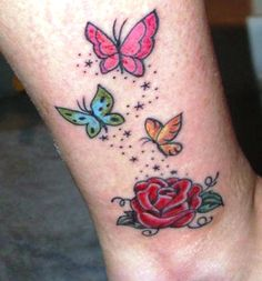 Small Colorful Butterfly Tattoos