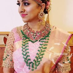 Beautiful bride Sowmitha wearing a heavy intricate bead pearl and stone work blouse.i took inspiration from her jewellery and incorporated jewellery beads and stones into her blouse jewellery - make up - hair style : Indian Jewelry Sets, Indian Wedding Jewelry, Indian Bridal, Bridal Jewelry, India Jewelry, Bridal Blouse Designs, Saree Blouse Designs, Stone Work Blouse, Long Pearl Necklaces