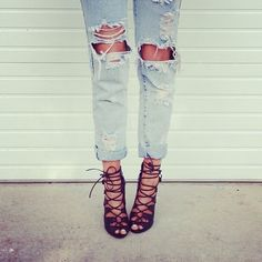ripped jeans and strappy shoes